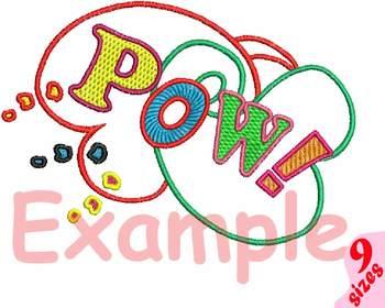 POW Comic Book Embroidery Design super hero superhero pop art Speech 156b