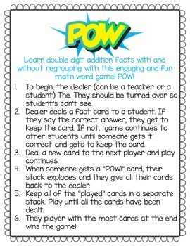 POW! Double Digit Addition Math Game