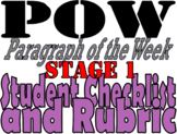 POW: Paragraph of the Week Student Checklist and Rubric: Stage 1