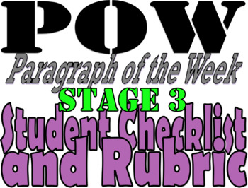 POW: Paragraph of the Week Student Checklist and Rubric: Stage 3