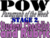POW: Paragraph of the Week Student Checklist and Rubric: Stage 2