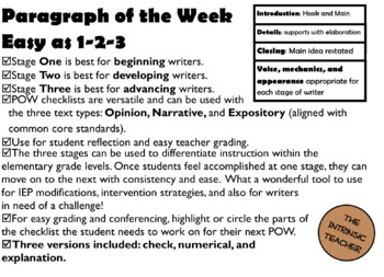POW~ Easy as 1,2,3~ Paragraph of the Week Student Checklist and Rubric~ 3 Stages