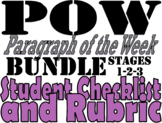 POW Paragraph of the Week Student Checklist and Rubric 3-S