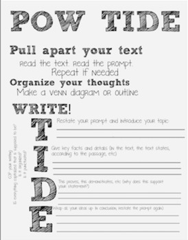 POW TIDE writing set includes poster, bookmarks and worksheet