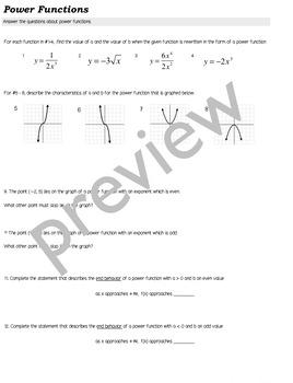 POWER FUNCTIONS algebra2