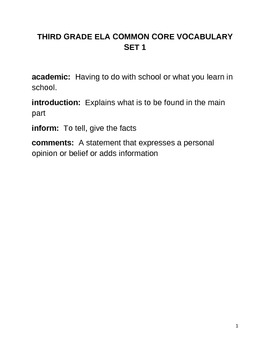 POWER IN WORDS COMMON CORE ELA ACADEMIC VOCABULARY ACTIVITY BOOK (THIRD GRADE)