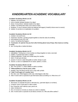 POWER IN WORDS KINDERGARTEN COMMON CORE VOCABULARY ACTIVITY BOOK