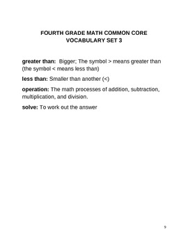 POWER OF WORDS COMMON CORE MATH ACADEMIC VOCABULARY (FOURTH GRADE)