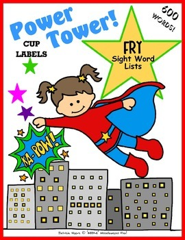 POWER TOWER cup labels - FRY sight words 1-600