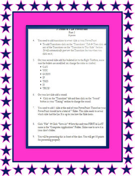 POWERPOINT - 3 Truths & 1 Lie Power Point Project
