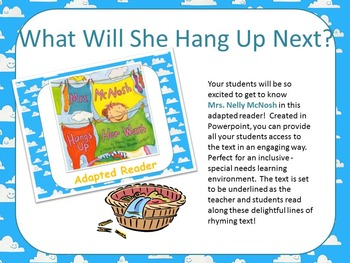 POWERPOINT Mrs. McNosh Hangs Up Her Wash - Adapted Reader {Special Education}