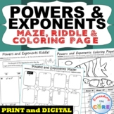 POWERS AND LAW OF EXPONENTS Maze, Riddle, & Coloring Page