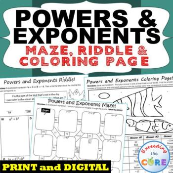 POWERS & EXPONENTS  Maze, Riddle, & Coloring Page (Fun MAT
