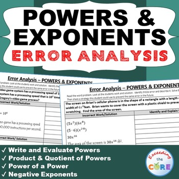 POWERS & EXPONENTS  Word Problems -  Error Analysis  (Find the Error)