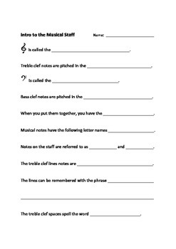 POWTOON VIDEO - Intro to the Musical Staff - WORKSHEET