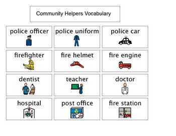 PPCD PreKinder Community Helper Vocabulary Chart