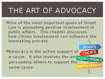 PPT Street Law:  A Course in Practical Law:  Chapter 3  Advocacy Power Point