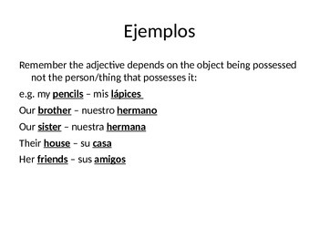 PPT to teach Spanish possessive adjectives