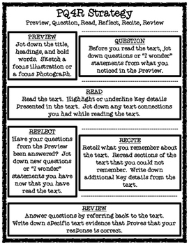PQ4R Reading Strategy Handout and Organizer for Answering Text-Based Questions