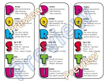 PQRSTU STAAR Reading Test-Taking Strategy Bookmarks