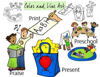 PR Blend Phonics Clip Art Set - Color and Line Art 8 pc set