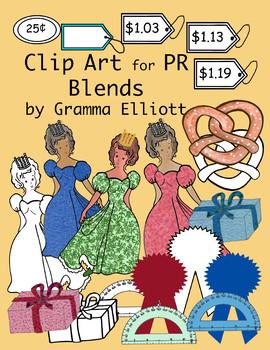 PR Blends - Color and Black Line Phonics Clip Art - 300dpi PNG's