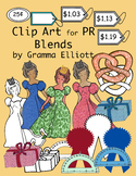 PR Blends Phonics Clip Art Color and Black Line 300dpi PNGs