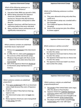 Revise and Edit Japanese Internment Camps Task Cards Activity