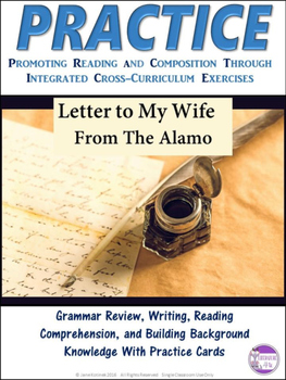 PRACTICE Letter To My Wife Task Cards Activity  Alamo