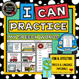 PRACTICE SPEECH HANDOUTS for PARENTS & SLPs WORKSHEETS