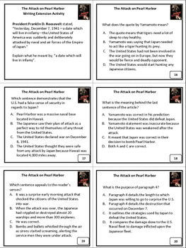 Revising and Editing The Attack on Pearl Harbor Task Cards Activity