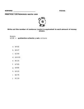 PRACTICE WITH NUMBERS 1-1000 - cuantos centavos hay?