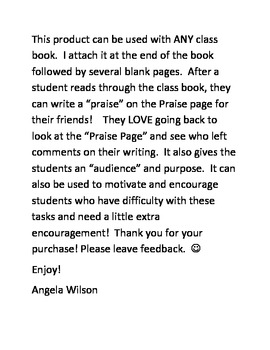 PRAISE PAGE for Class Books!