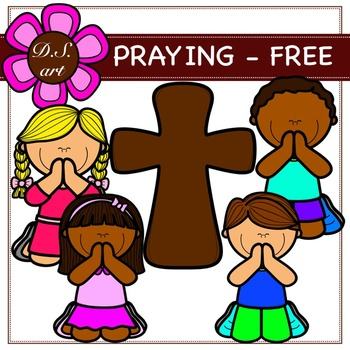 PRAYING FREE Digital Clipart (color and black&white)