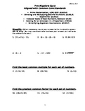 PRE-ALGEBRA QUIZ (includes answer key)