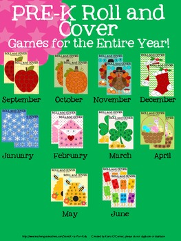 PRE-K Roll and Cover Games - One for every month in the year!