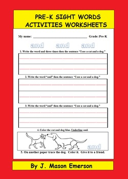 PRE-K SIGHT WORDS ACTIVITIES WORKSHEETS (LEARNING MATS)