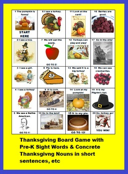 PRE-K THANKSGIVING BOARD GAME FOR LITERACY (ESL HELPFUL)