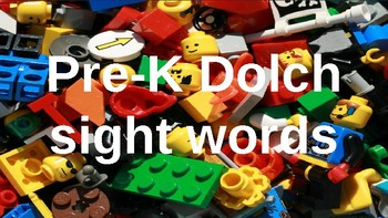 PRE-Kindergarten Dolch Sight Words Powerpoint - BUILDING CUBE TOY THEME