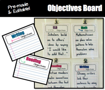 PRE-MADE Objectives Board