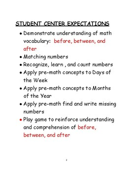 PRE-MATH CONCEPTS CENTER WORK FOR K-2
