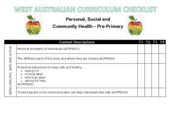 PRE-PRIMARY Health Western Australian Curriculum