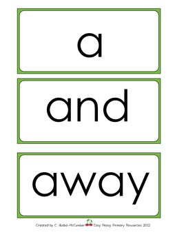 PRE-PRIMER Dolch/Sight Word Card (SET 1)
