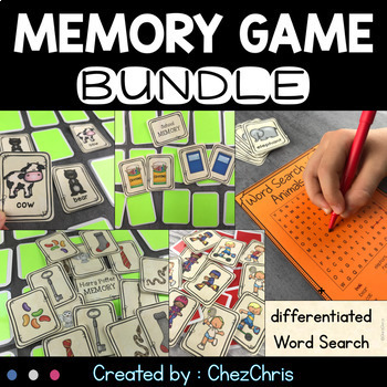 Memory Game : 11 games - 42 cards in each + Word Search activities