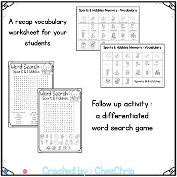 Memory Game Bundle - Vocabulary - Worksheets - Word Search games