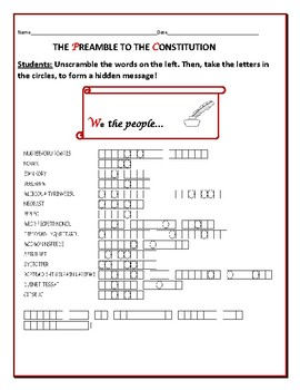 PREAMBLE TO THE CONSTITUTION: AN AMERICAN  HISTORY WORD JUMBLE PUZZLE!