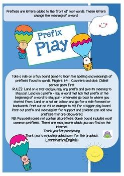 PREFIX HOT AIR BALLOON BOARD GAME - INCLUDES PREFIX WORD LIST - PRINTABLE