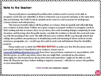 PREFIX PUZZLES IN SPANISH