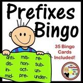 PREFIXES Bingo - Whole Group Vocabulary Fun w/ 35 Bingo Cards