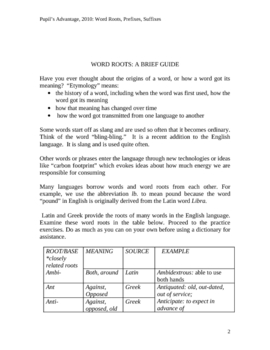PREFIXES, SUFFIXES, AND WORD ROOTS WORKSHEET